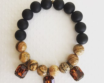 Handmade bracelet. Brown and black beaded stretch bracelet. Black Matte Bracelet. Stretch bracelet. Smoky topaz. Chic.