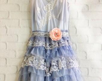 periwinkle & white tiered lace chiffon boho wedding dress by mermaid miss Kristin