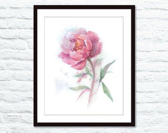 "9""x12"" Original watercolor painting. Peony"
