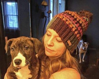 Crochet Puff Stitch Beanie with pompom, Slouchy Hat, Winter hats