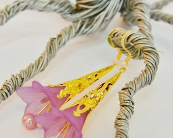 Gold, Pink Lucite Lily Flower Dangle Earrings