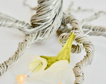 White Lily Lucite Dangle Earrings
