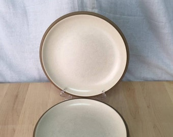 "2 Dinner Plates, Dansk ""Santiago"", White Brown Tan, 10.5"" inches, Good used condition - some scratches/utensil marks on surface"