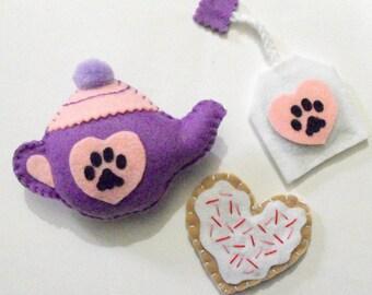 Cat Toys - Felt Catnip Tea Set - Set Of 3 - Made To Order