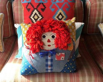 Funky, 70s or 80s, Vintage Home-Made Raggedy Ann Throw Pillow