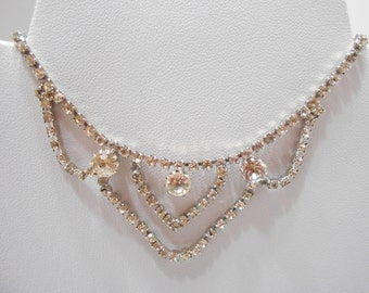 "Vintage 15"" Clear Rhinestone Necklace (8036)"