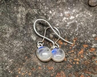 Rainbow moonstone earrings, petite and dainty moon stone jewelry
