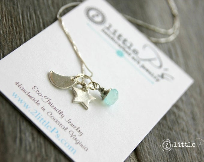 Featured listing image: Celestial Joy Necklace, Moon, Star Handcrafted Mini-Charms Night Sky Necklace