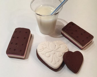 polymer clay ice-cream sandwich, milk,resin drinks, 18 inch dolls