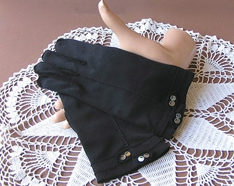 Vintage Black Gloves with Button Details 1950s Crescendoe Leather Tailored