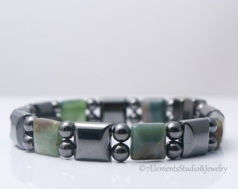 Magnetic Hematite Bracelet with Green Jasper, Arthritis Therapy Bracelet for Men and Women