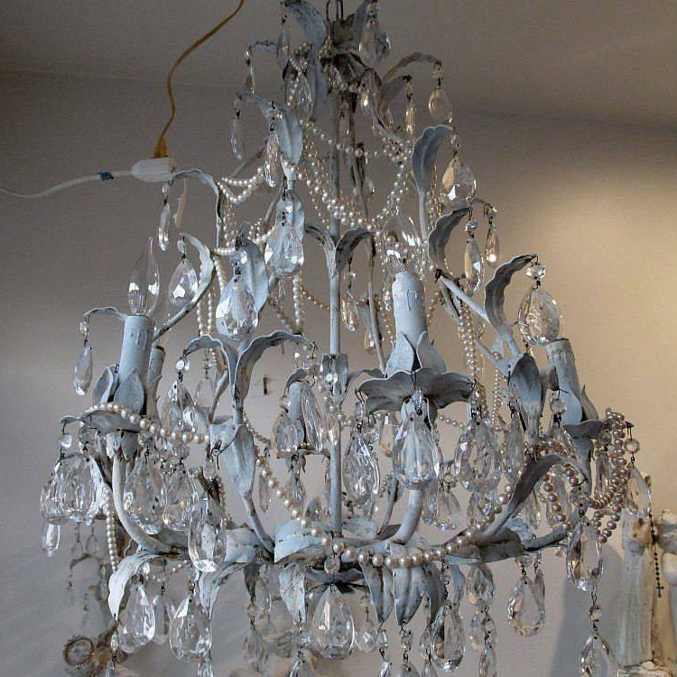 Distressed Crystal chandelier tole lighting by