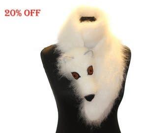 SALE 20 % OFF / Arctic fox / Polar fox / Hand knit fox Scarf / Fuzzy Soft Scarf / white / fox scarf / scarf
