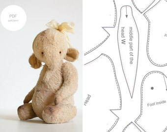 Sale 20% Off PDF Sewing Pattern Stuffed Animal Elephant Pattern Mohair Artist Teddy Bear Pattern Soft Toy 9 inches For Women PDF Tutorial
