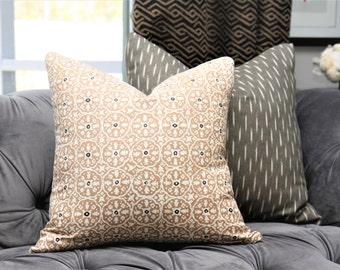 Tan and Off White Geometric Pillow - Neutral Printed Geometric Pillow Cover- Nitik II Camel - Boho Chic Home Decor