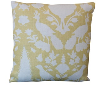 Chenonceau Bird Schumacher Designer Pillow Cover in Buttercup Yellow