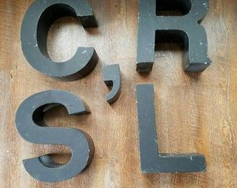 """Vintage Large 12"""" Black Marquee Letters Aluminum Letters S,C,R,' apostrophe"""
