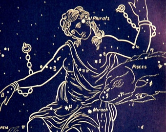 1911 Antique print of STARS. CONSTELLATIONS. Andromeda. Astronomy print. Zodiacal Constellations. Zodiac. 116 years old celestial chart