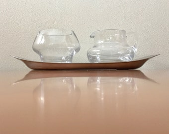 Vintage WMF Cream and Sugar with Stainless Steel Underplate