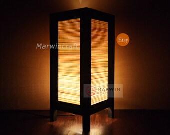 Asian Oriental Zen Design Bamboo Japanese Art Bedside Floor Table Lamp Desk Light Shades Gift Living Bedroom Furniture Home Decor