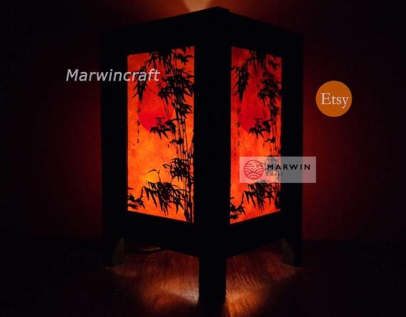 Asian Oriental Japanese Bamboo Dawning Zen Art Bedside Floor Table Lamp Desk Paper Light Shades Gift Living Bedroom Furniture Home Decor