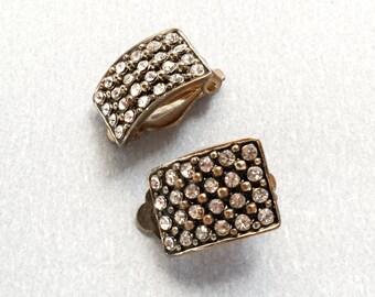 Diamante clip on earrings, Rectangular earrings, Multi paste earrings, Goldtone drops