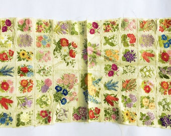 Vintage silk embroidered flowers, Patchwork floral material, Machine stitched, Silk flower panels