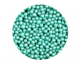 Turquoise Blue Luster Sugar Pearls Dragee Sprinkles for cake, cupcake, & cookie decorating
