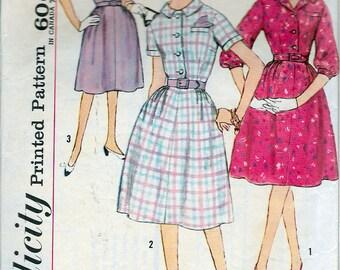 "Vintage 1961 Simplicity 4003 Half Size Slenette One-Piece Shirtwaist Dress Sewing Pattern Size 12 1/2 Bust 33"""