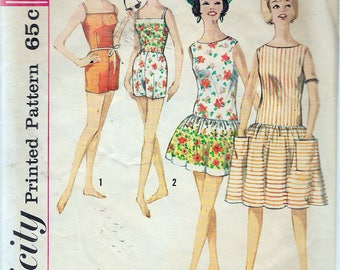 Vintage 1960's Simplicity 4435 One-Piece Dress, Beachdress & Bathing Suit Sewing Pattern Size 14 Bust 34""