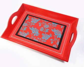 Vintage Vibe One of a Kind Painted Decorative Tray