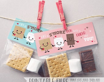 PRINTABLE Smores Valentine Treat Bag Toppers, Instant Download Valentine Cards Kids, S'mores Printable Valentine Tag, DIY Valentine Card Tag
