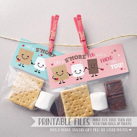 PRINTABLE Smores Valentine Treat Bag Toppers Valentine Cards