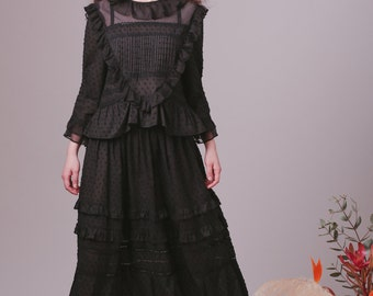 Bohemian dress set,Boho dress,Peasant dress,Black dress,Edwardian dress,Edwardian blouse,Cotton dress,Hippie clothes,Prairie dress