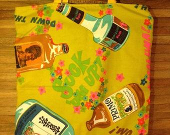 Groovy Hawaiian Handmade Market Bag, Tote Bag, Retro Boho Chic Shopper, Hawaiian Rum, Primo Beer, Honolulu Sake, Ti Leaf Okolehao