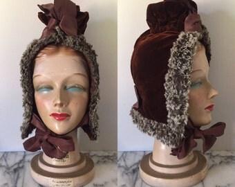 Victorian Winter Bonnet - Antique Brown Velvet Warm Hat Hood with Ribbon & Fur Trim - 19th C