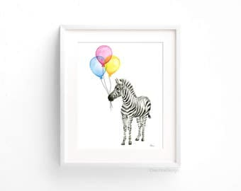 Zebra Watercolor Baby Animal Art Print, Whimsical Animal Print, Nursery Decor, Zebra Painting, Balloons Print, Baby Room, Kids Room Decor
