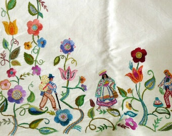 Vintage  Embroidered Peruvian/Bolivian Ethnic Panels Folk Art South American Wall Hangings Curtains