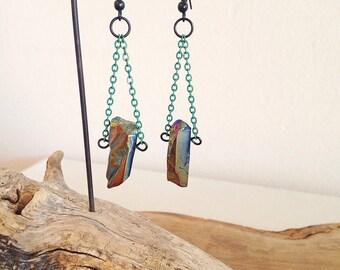 Iris. Rainbow Titanium Quartz Crystal Earrings