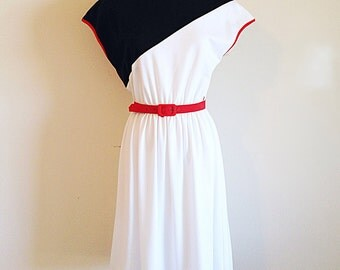 Vintage 1980s Red White and Black Colorblock Dress New Wave