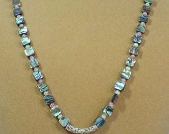 "24"" of Tropical Paradise - Glowing Abalone Necklace - N464"