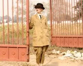 RESERVED 1920s 1930s riding habit, khaki summer equestrian suit with jodhpurs & jacket, Museum Piece, Sm - Med
