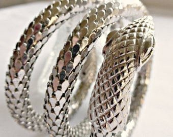 Vintage Whiting And Davis Three Coil Rhodium Serpant Snake Bracelet With Mesh Scales