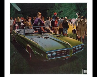 67 Pointiac Firebird GreenHS Football Friday Night Lights.  Americana.  Football in USA Friday Night.  Auto ad 13 x 10.  Ready Frame