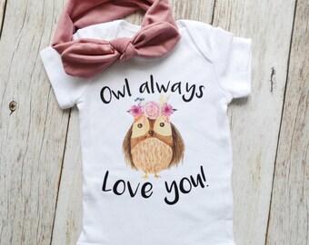 Boho Owl Bodysuit, Owl Always Love you Baby bodysuit, Little Own, Newborn baby bodysuit, printed bodysuit, Baby shower gift
