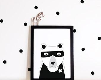 Nursery decor, Nursery wall art, Kids room decor, kids room poster, nursery art print, superhero bear, monochrome print