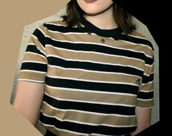 RESERVED 90s Tan and Black Striped Tshirt with Studded Collar