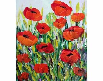 Small Oil Painting Poppy Red Flower Floral Original Mini Art Impasto Palette Knife House Shabby Chic Home Wall Decor Gift for Her 5x7