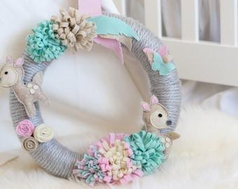 Boho Nursery Wreath / Baby Girl Nursery / Pastel Nursery / Fawn Nursery