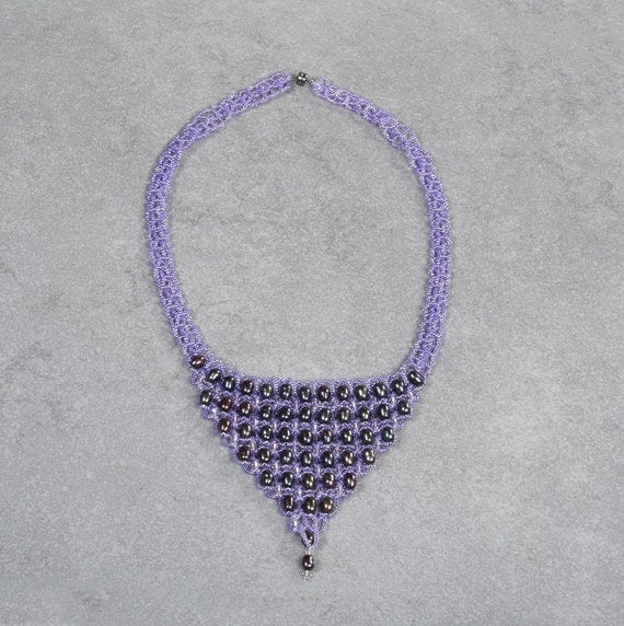 Crystal Necklace,Beaded necklace,Purple necklace,Pearl necklace,Christmas Necklace,Long Earrings,Christmas gift for Mom,Christmas gift,OOAK